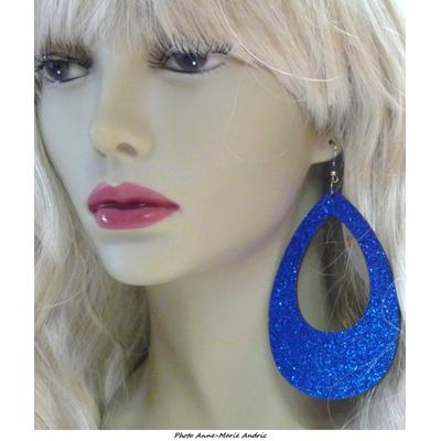 Boucles d'oreille ovales disco pailletées bleues