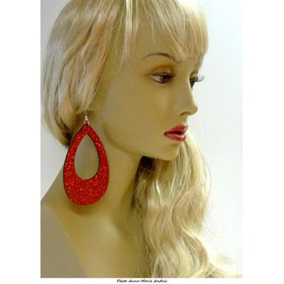 Boucles d'oreille ovales disco pailletées rouges