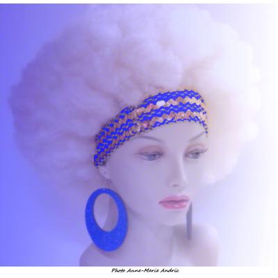 Boucles d'oreille rondes disco pailletées bleues