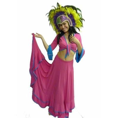Costume de Danseuse Brésilienne Rose Et Turquoise