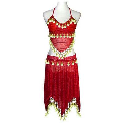 Costume de danseuse orientale pailletée rouge