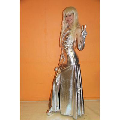 Déguisement robe Dalida argent métallisée