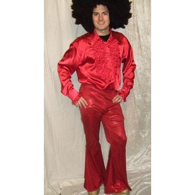 Pantalon Disco Mixte Rouge à Paillettes noir et or