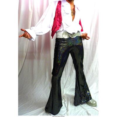 Pantalon disco noir à paillettes laser