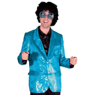 Veste disco pailletée bleue turquoise