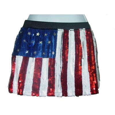 Mini jupe à paillettes drapeau américain usa