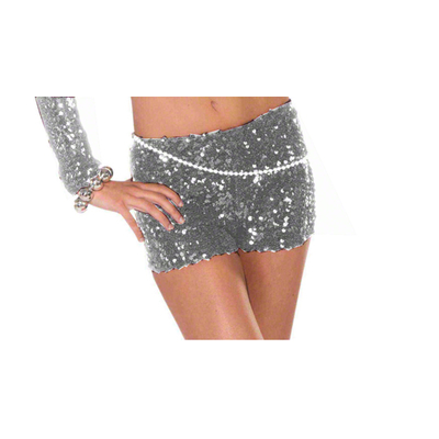 Short pin up à paillettes argent
