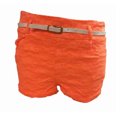 Short en dentelle lycra orange fluo