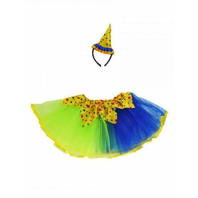Kit clown tutu et chapeau bleu et jaune
