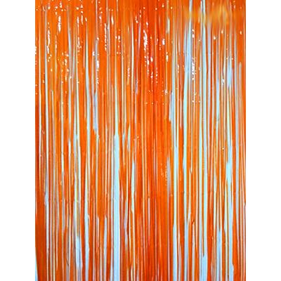 Rideau métallique à franges oranges
