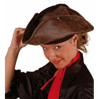 Chapeau Tricorne de Pirate En Tissu Imitation Cuir Marron