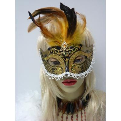 Masque à plumes or et noir