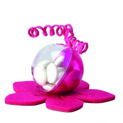 10 boules à dragées en plexi rose