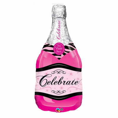 Ballon bouteille de champagne rose