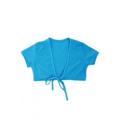 Cache coeur manches courtes enfant turquoise