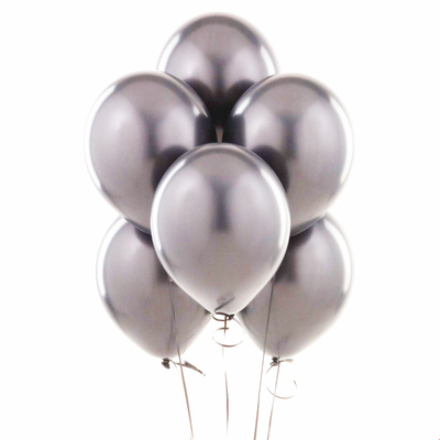 10 ballons latex métallisés argent