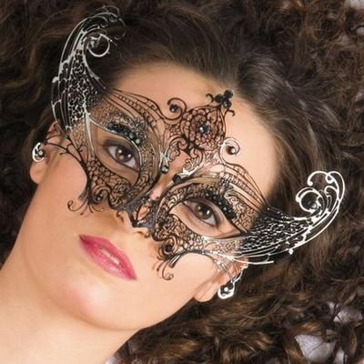 Masque Venitien Métal Noir