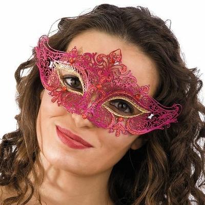 Masque Vénitien Métal Fuchsia