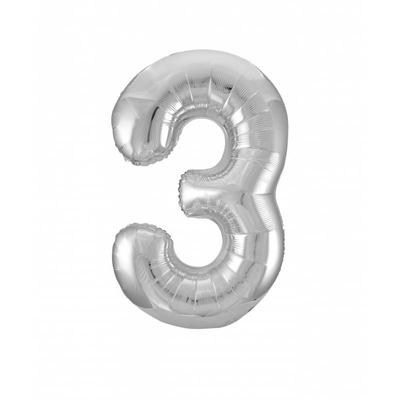 Ballon géant chiffre 3 aluminium argent 104 cm