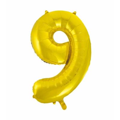 Ballon géant chiffre 9 aluminium doré