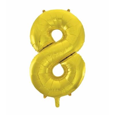 Ballon géant chiffre 8 aluminium doré 104 cm