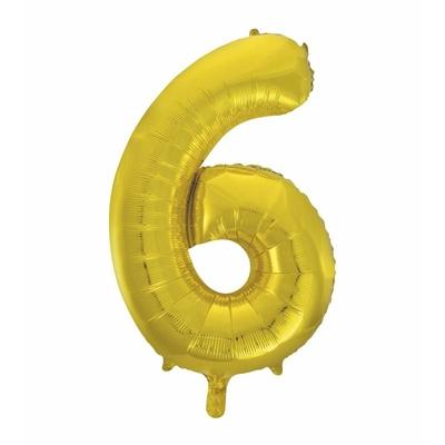 Ballon géant chiffre 6 aluminium doré 104 cm