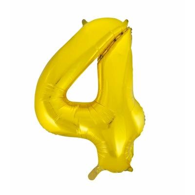 Ballon géant chiffre 4 aluminium doré 104 cm