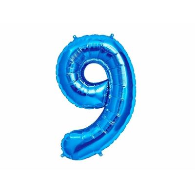 Ballon géant chiffre 9 aluminium bleu 104 cm