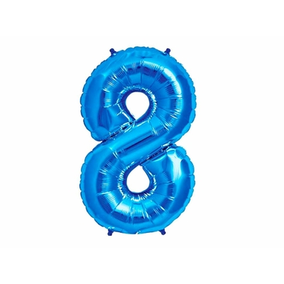 Ballon géant chiffre 8 aluminium bleu 104 cm