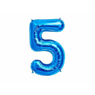 Ballon géant chiffre 5 aluminium bleu 104 cm