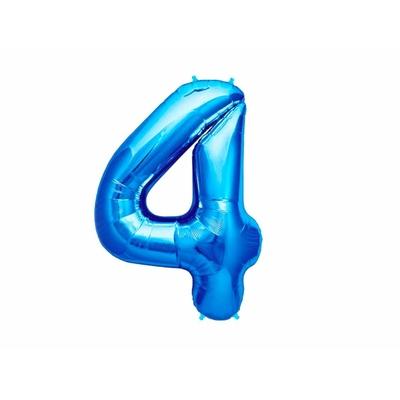Ballon géant chiffre 4 aluminium bleu 104 cm