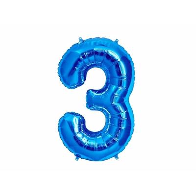 Ballon géant chiffre 3 aluminium bleu 104 cm