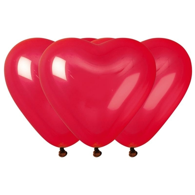 10 Ballons latex coeur rouge