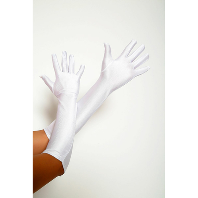 Gants Satin lycra Blancs 50 cm