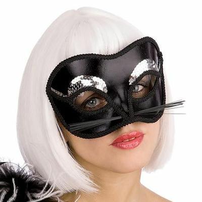 Masque de Chat Noir Et Paillettes Argent