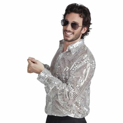 Chemise Disco Argent Pailletée