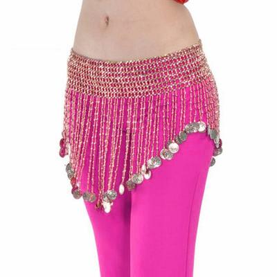 Ceinture de danse orientale en perles roses avec sequins