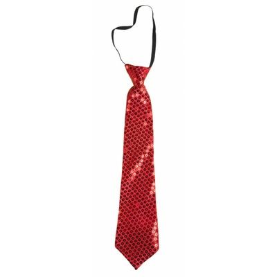 Cravate courte à paillettes rouges