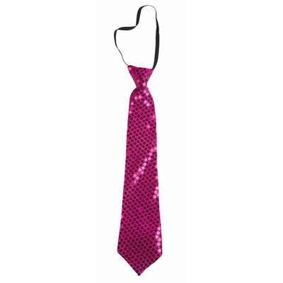 Cravate courte à paillettes fuchsia