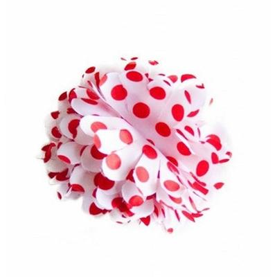Pince chouchou fleur blanche à pois rouge