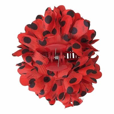 Pince chouchou fleur rouge à pois noir