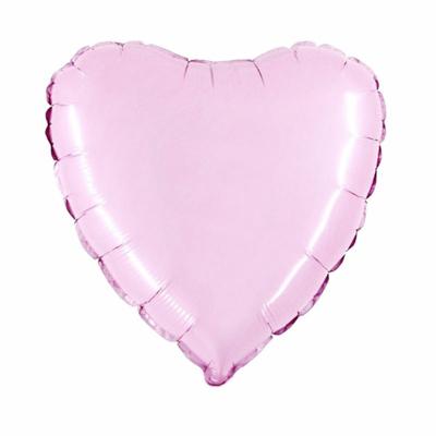 ballon mylar coeur rose pastel
