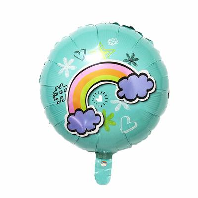 Ballon mylar aluminium Arc en ciel bleu