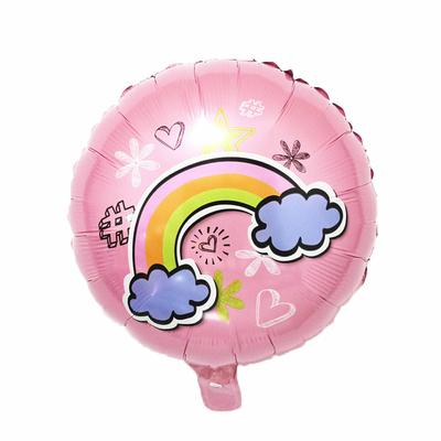 Ballon mylar aluminium arc en ciel rose