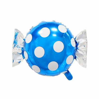 Ballon mylar aluminium bonbon bleu à pois
