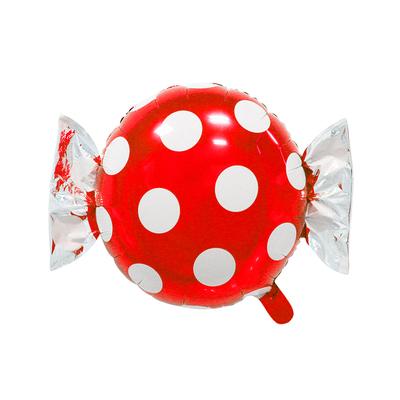 Ballon mylar aluminium bonbon rouge à pois
