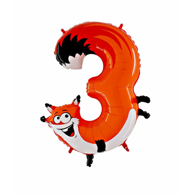 Ballon chiffre 3 renard
