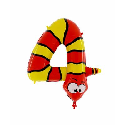 Ballon chiffre 4 serpent