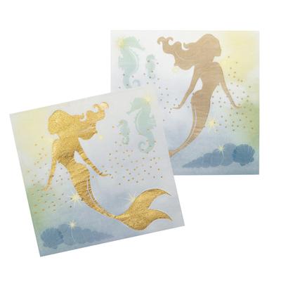 12 serviettes thème sirène