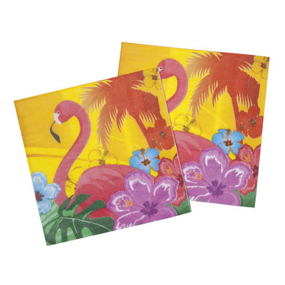 12 serviettes flamand rose